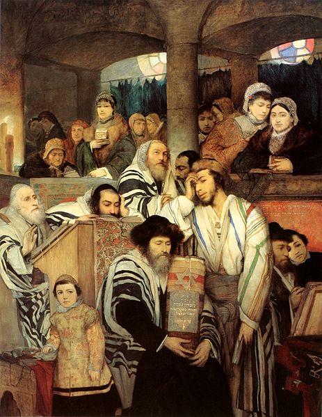 Евреи молятся в синагоге на Йом-Кипур
